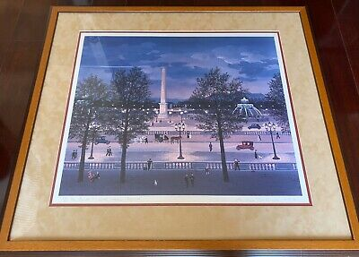 Beautiful  Signed Framed/Matted Michel Delacroix Paris Night Front Litho