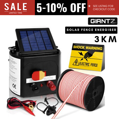 3km Solar Power Electric Fence Energiser Charger w/ 400M Tape & 25 Insulator AUS