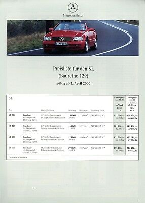 Mercedes SL Final Edition Preisliste 2001 29.1.01 R 129 280 320 500 price list