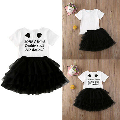 Toddler Kids Baby Girls Clothes T-shirt Tulle Tutu Skirt Dress Outfit Set