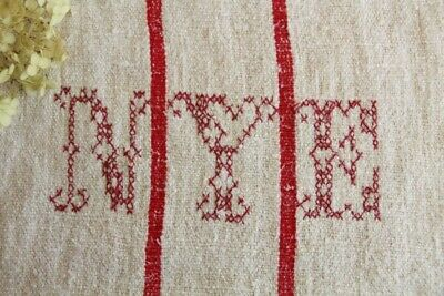IP 15 antique french grain sack grainsack offwhite strawberry red stripes