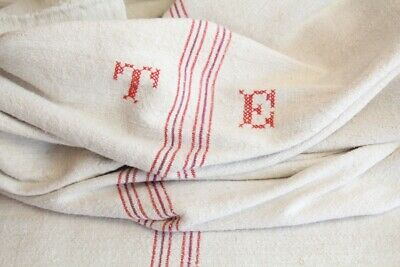 IP 21 antique french grain sack grainsack offwhite multi red stripes
