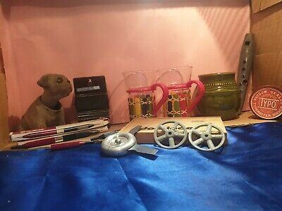 Vintage group lot recorder, tin, glass china stylus pen and other