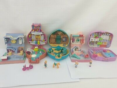 Vintage Polly Pocket bundle 5 items, cases , houses  figures by bluebird toys