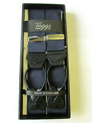 Taggs Navy Blue Rigid Barathea Braces With Black Button Leather Ends