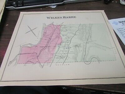 Antique - Original Wilkes-Barre Township Pa Map - Vg