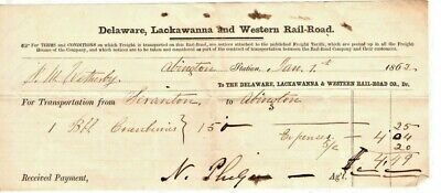 1862 - Delaware, Lackawanna And Western Rail-Road - Abington Station Billhead