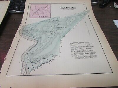 Antique - Original Ransom Township Pa Map - Vg