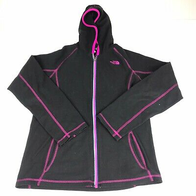 The North Face Jacket Girls XLarge Black/Pink Full Zip Up Hooded Jacket