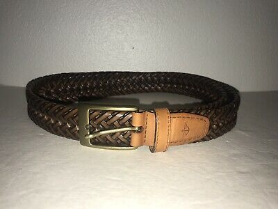 Dockers Mens Size 38 Brown Woven Leather Braided Belt