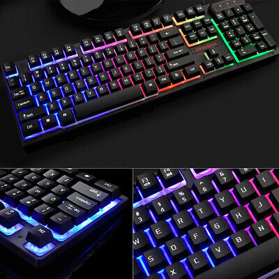 NEW Rainbow RGB Gaming Keyboard LED Backlit Wired USB For PC Laptop UK