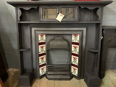Victorian Wood Painted Fire Surround With Cast Iron Art Nouveau Tiled Insert
