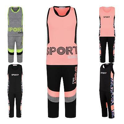 Girls Sports Vest Tank Top Neon Camouflage Striped Leggings Yoga Set 3-14 Years