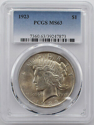 1923 Peace Silver Dollar $1 Coin PCGS MS 63 #M