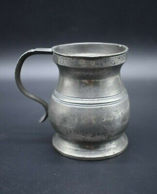 19th Century antique English pewter half pint tankard - with makers marks
