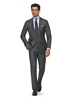$825 Suitsupply Sienna Grey Charcoal Plain Rare Super 150's Wool Suit: 40R