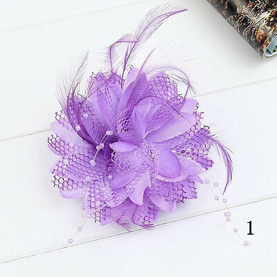 New Flower Feather Bead Corsage Hair Clips FascinatorBridal Hairband Brooch Hot