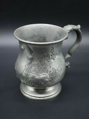 18th Century antique pewter decorated half pint tankard - made in Sheffield ENG
