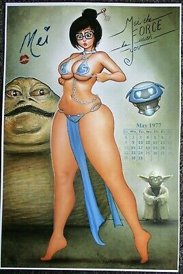 Nathan Szerdy Signed 12X18 Art Print Mei The Force Be With You Star Wars Jaba