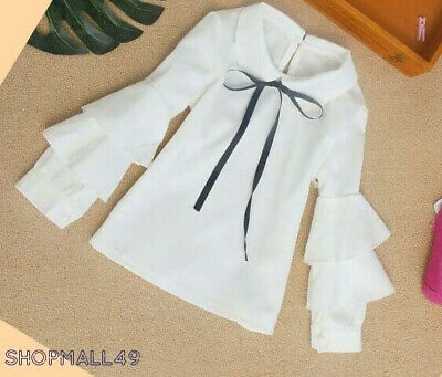 Girls Shirt White off Top School Spring Tops Long sleeve Blouse Age 3-15 years