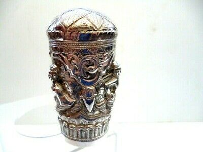 Silver Plated Walking Stick Handle--Eastern Repousse Figures