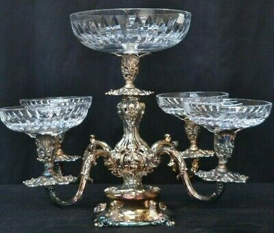 Reed & Barton SILVERPLATE Epergne With MILLER ROGASKA CRYSTAL BOWLS 5 Tiers