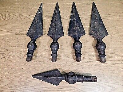 """Set Of 4 Antique 14"""" Cast Iron Spear Shaped Porch Awning Supports, And One More"""