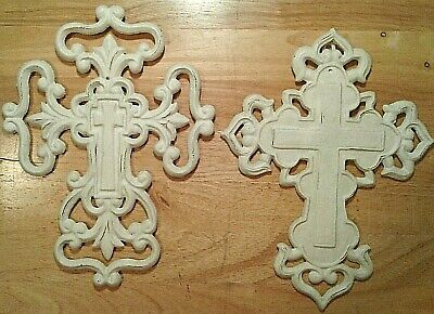 two sided cast iron floral wall decor SHABBY WHITE BUDDED FLOWER CROSS