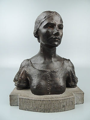 Bronze Bust of a Woman Sculpture by Jerome Stanley Connor - Irish Roycrofter BR