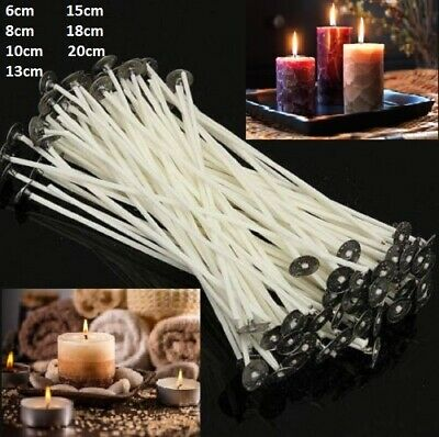 100 PCS Pre Waxed Wicks For Candle Making With Sustainers Wax Art Make Home