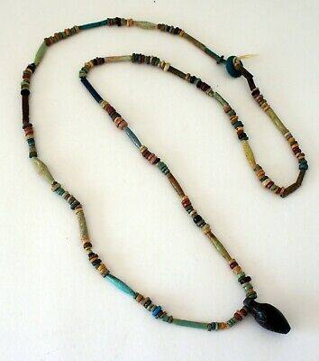 "Ancient Egyptian Stone Bead Necklace with Bird Amulet 13"" long"