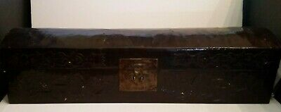 Antique Chinese Leather Pillow Box Asian Bronze Wood Laquer Case 19th Century