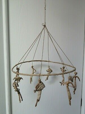 Vintage Corn Husk Dolls Hanging Folk Art Mobile Movie Prop Handmade Scary Creepy