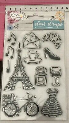 Clear Stamps ~ French Themed Eiffel Tower Music Bike Dress Croissant Perfume +++