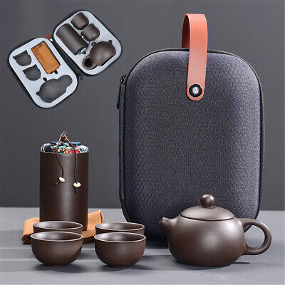Portable Travel Teapot Tea Set Gift Purple Sand Pot + 4 Cup + Tea Caddy + Bag v