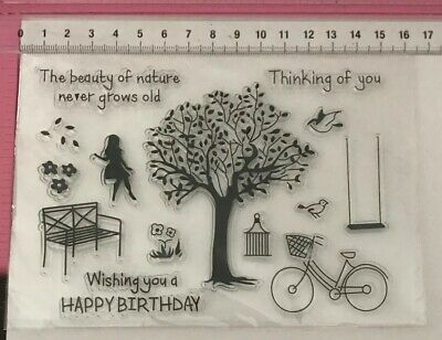 Clear Stamps ~ Tree Bike Swing Bench Chair Flowers Girl Sitting Birds Birthday +