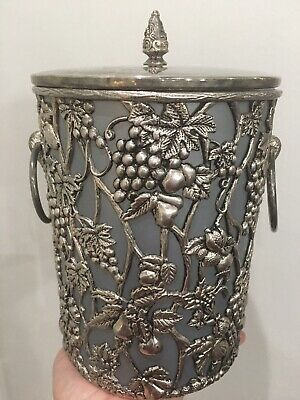 Silver Vintage Heavy Metal Overlay Ice Wine Bucket Cooler Grapes.