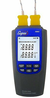 Supco EM60 Dual-Channel Differential Digital Thermocouple Thermometer with