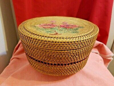 "Vintage Asian Rattan Wicker Basket 10 5/8"" Top Dia."