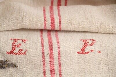 HP 970 antique french linen grain sack grainsack offwhite pink stripes