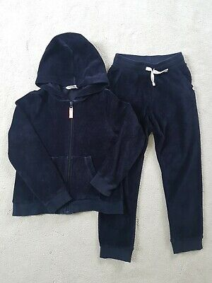 H&M velour Navy Tracksuit Jogger Set Girls age 6 - 8