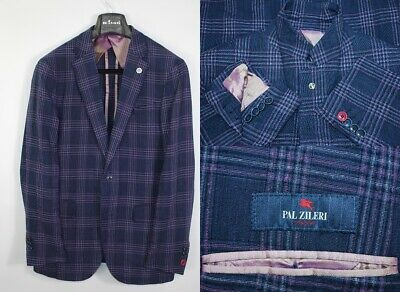 Mens PAL ZILERI Concept Blazer Jacket Sport Coat 50IT 40US/UK Wool & Linen Check