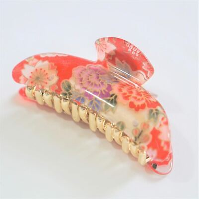 Kimono Clip hair accessory, French Style hair clip floral_red
