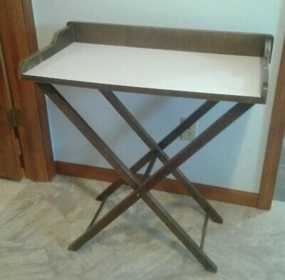 Antique Wooden Tray Top Butler Table with Folding Stand W/ White Veneer Top