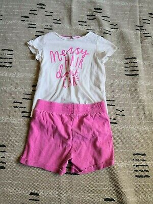 Joules Boutique Matching Set Girls Size 10 Short T-Shirt Messy Hair Novelty Pink