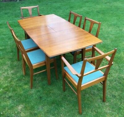 Vintage Mid Century Alfred Cox Extendable Dining Table With Chairs