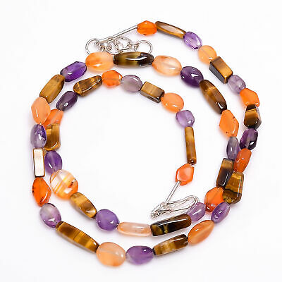 """Amethyst Carnelian Tiger Eye Gemstone Tumbled Faceted Beads Necklace 18-19"""" 5824"""