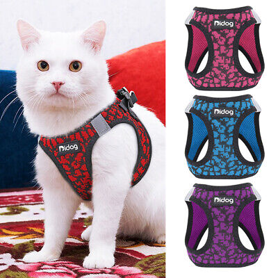 Step in Air Escape Proof Cat Harness Reflective Cat Puppy Walking Vest Jacket XS