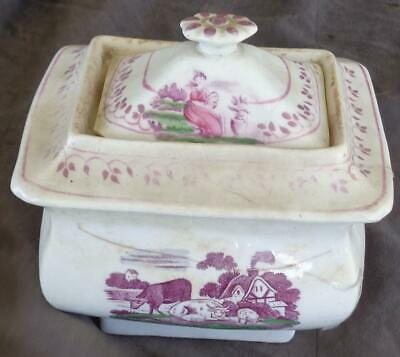 Antique China Transfer-ware Canister - BEAUTIFUL DESIGN - VERY OLD - COLLECTIBLE