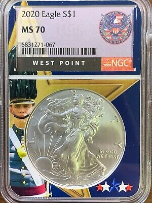 2020 American Silver Eagle - NGC MS70 West Point Core - BRAND NEW - 1oz Silver